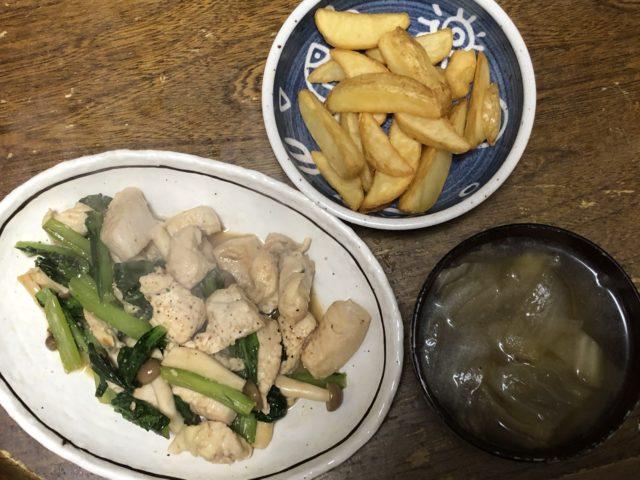 ヨシケイ鶏肉ときのこの炒め物完成